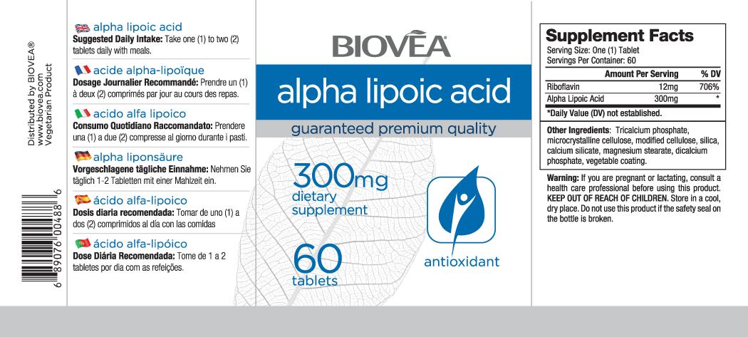 ACIDE ALPHA-LIPOÏQUE 300mg 60 Comprimés | BIOVEA | BIOVEA