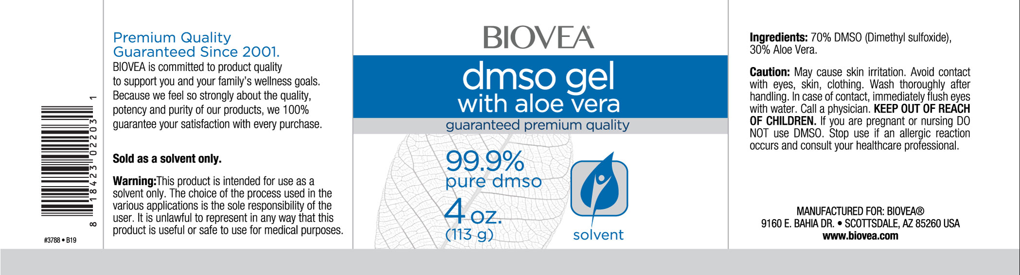 DMSO GEL WITH ALOE VERA (4oz) 118ml
