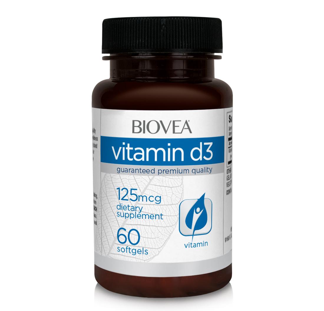 Vitamin D3 5000 Iu 60 Softgels   BIOVEA Supplements