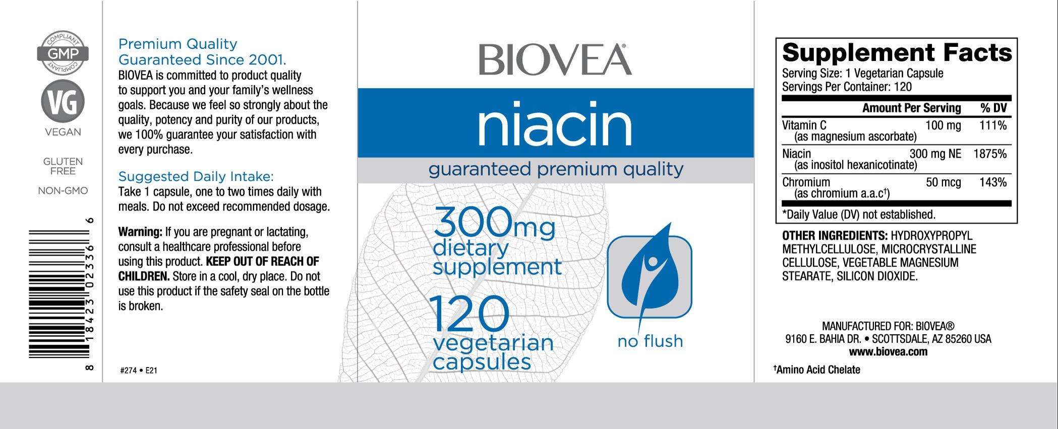 niacina 300mg 120 cápsulas vegetarianas bioveaver rótulo