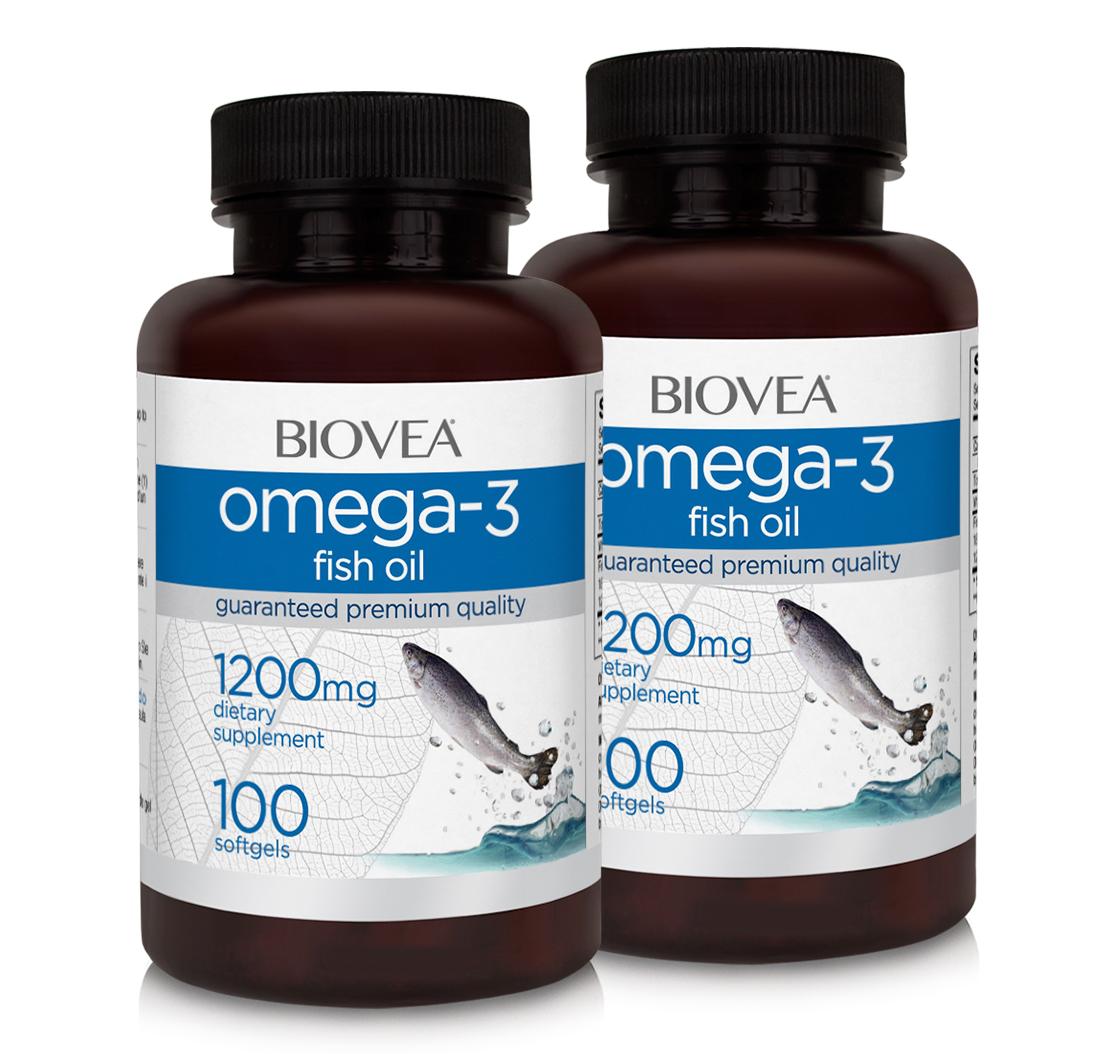 Omega 3 fish oil 1200mg 200 softgels biovea biovea for Best omega 3 fish oil