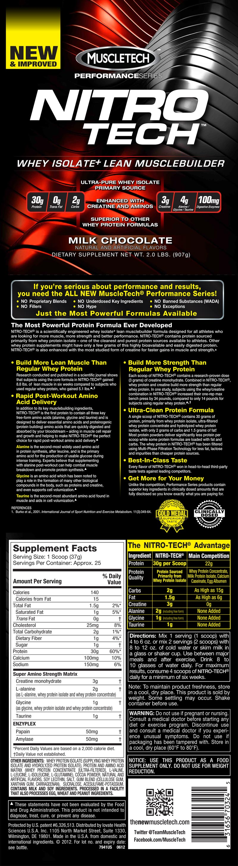 Nitro Tech Performance Series 907g Muscletech Biovea Nitrotech 4 Lbs Roll Over Image To Magnify View Label