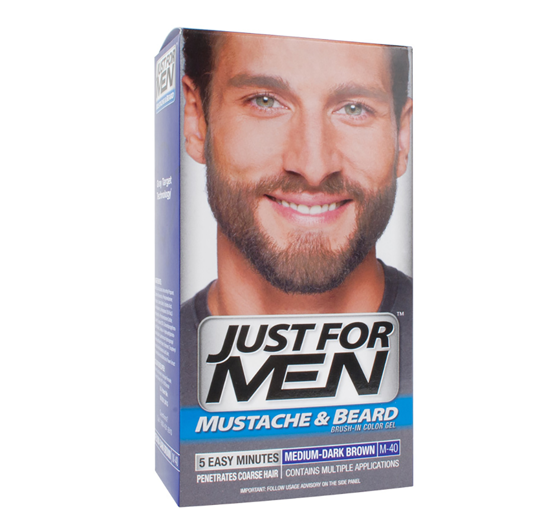 mustache beard colour gel medium dark brown just for men