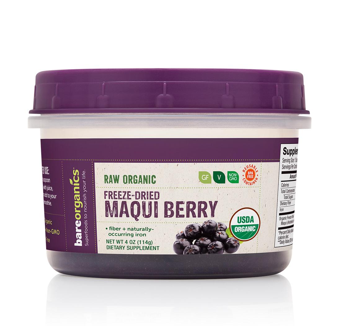 Bareorganics Freeze Dried Maqui Berry Powder Raw Organic 4oz