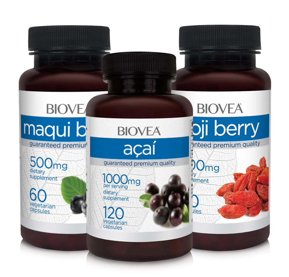 ACAI BERRY 1000mg + MAQUI BERRY 500mg + GOJI BERRY 600mg SUPER ANTIOXIDANTa | BIOVEA
