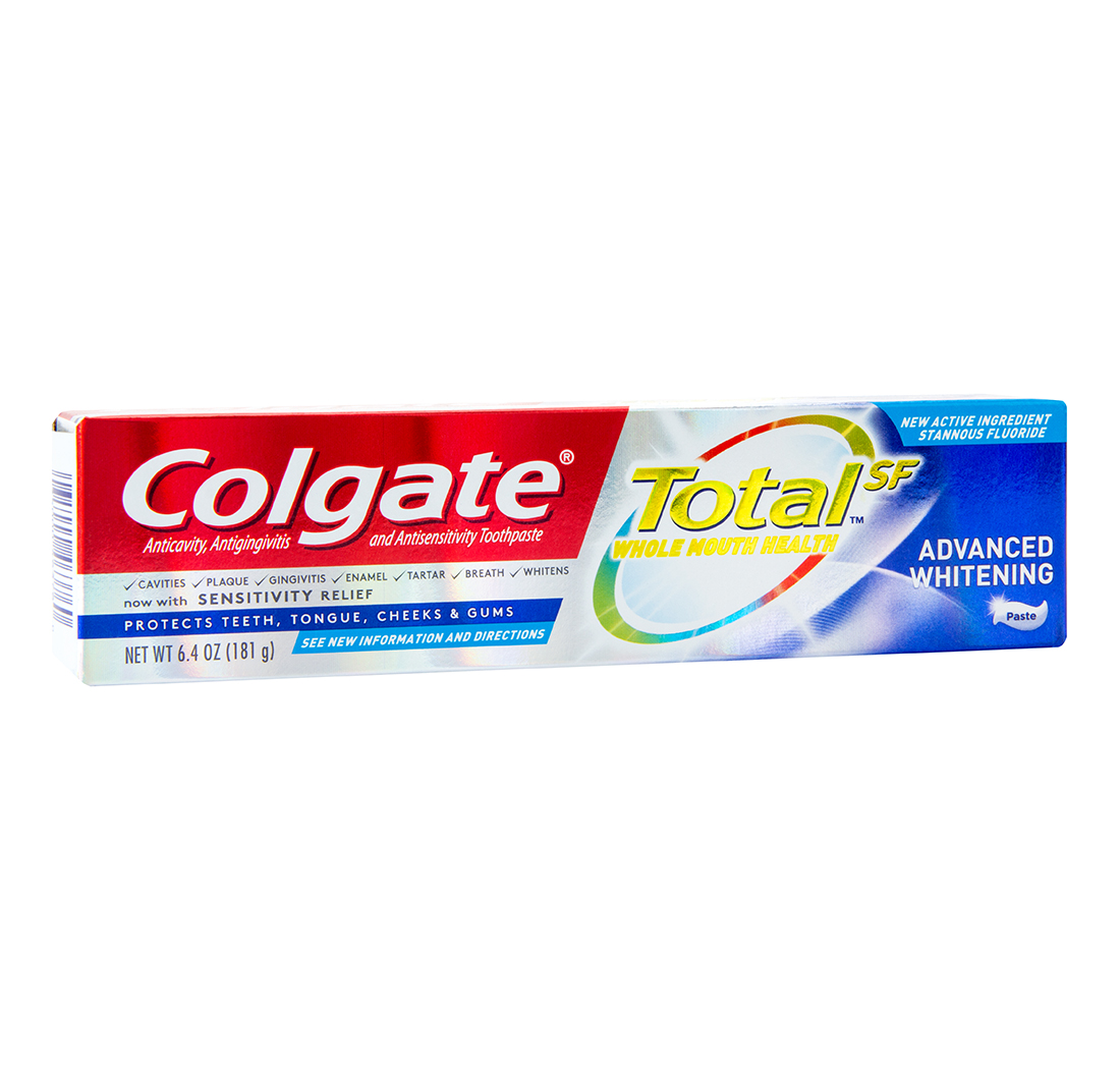 Colgate Total Toothpaste is sold as a teeth cleaning product from the Colgate Palmolive Company. Other than water and flavoring, the product has 13 different ingredients that make up the formula.