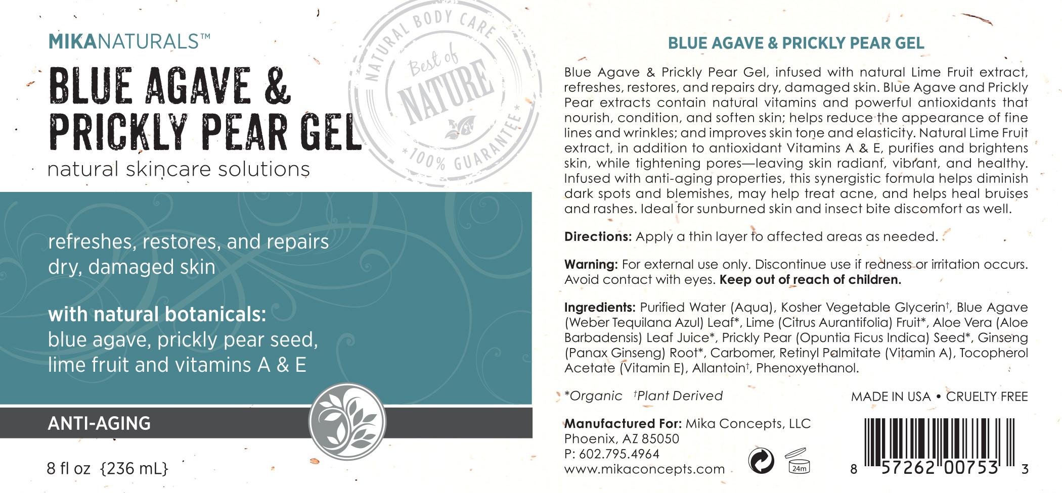Mika Naturals™ BLUE AGAVE & PRICKLY PEAR GEL (8oz) 236ml