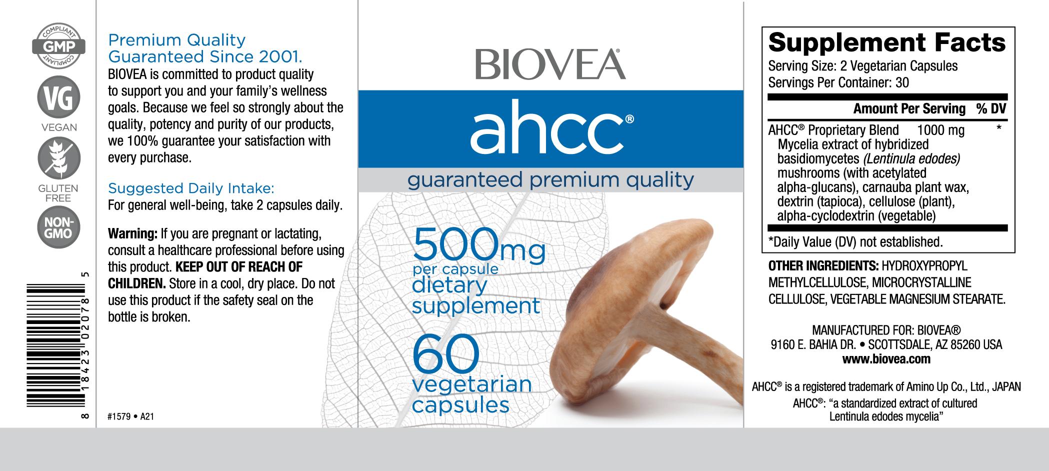 AHCC 500mg 60 Vegetarian Capsules