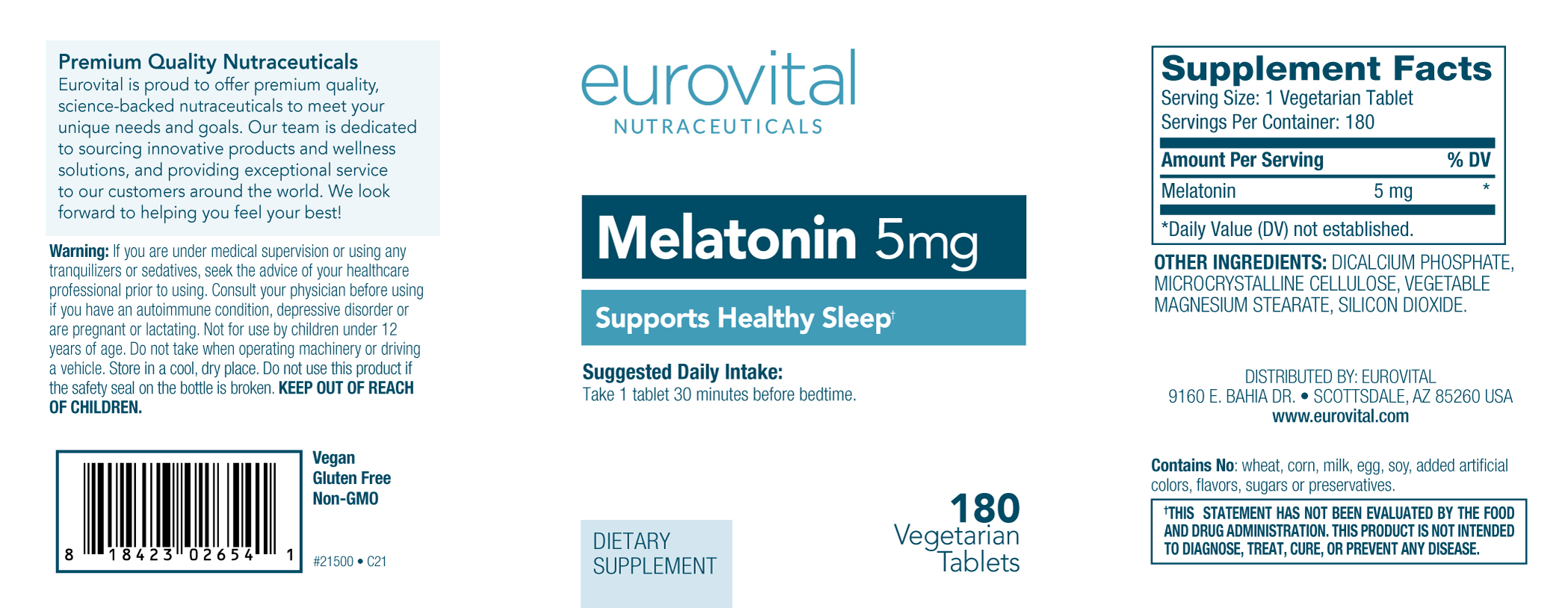 melatonin 5mg 180 tablets